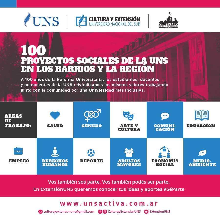 Imagen asociada a la novedad, 100 proyectos sociales de la UNS en los barrios y la región