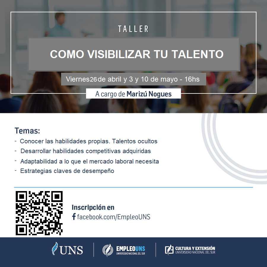 Imagen asociada a la novedad, EmpleoUNS: Taller Cómo visibilizar tu talento