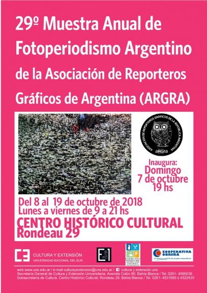imagen asociada al evento 29° Muestra Anual de Fotoperiodismo Argentino de  la Asociación de Reporteros Gráficos de Argentina (ARGRA), fecha 07/10/18