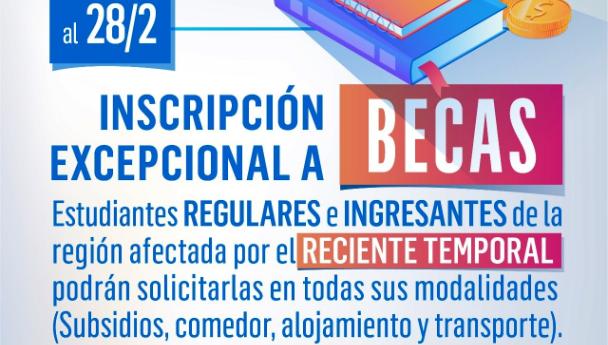 Imagen Noticia: Inscripción excepcional a becas para estudiantes de la zona afectada por el tem