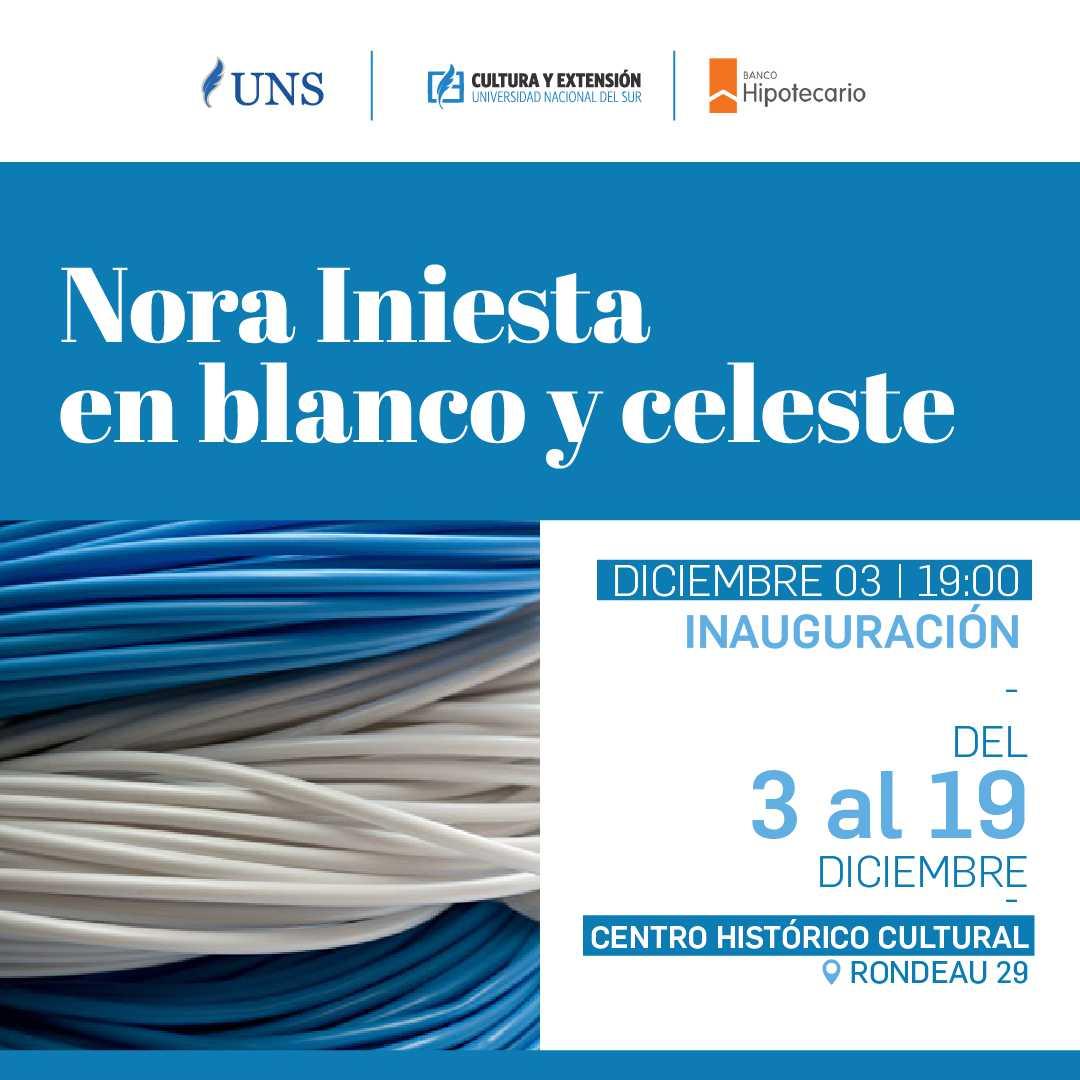 imagen asociada al evento Nora Iniesta en blanco y celeste, fecha 03/12/18