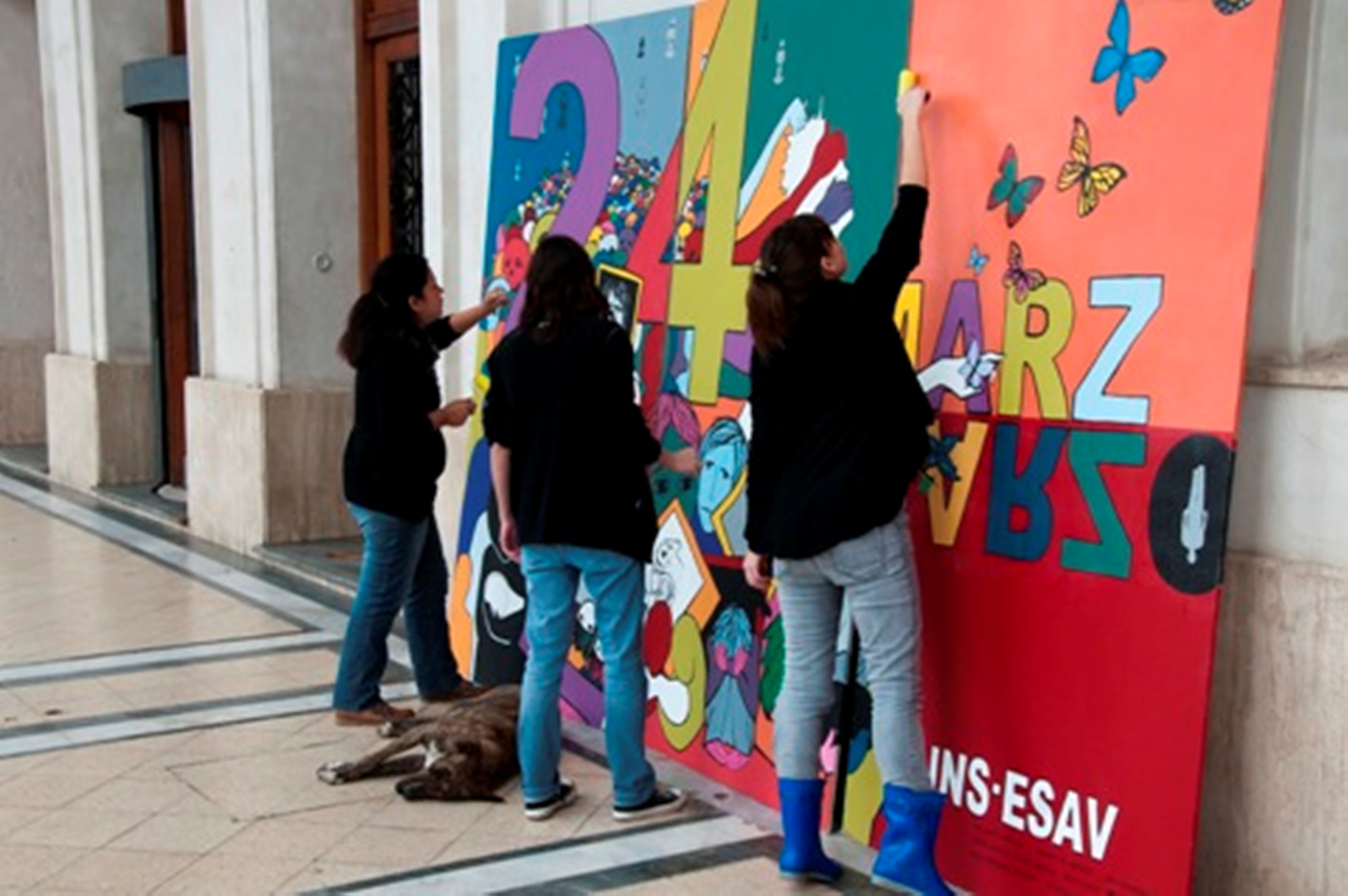 Mural de alumnos de la Escuela Superior de Artes Visuales