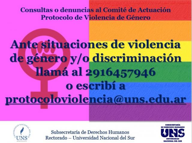 Consultas o denuncias - Protocolo de Violencia de Género